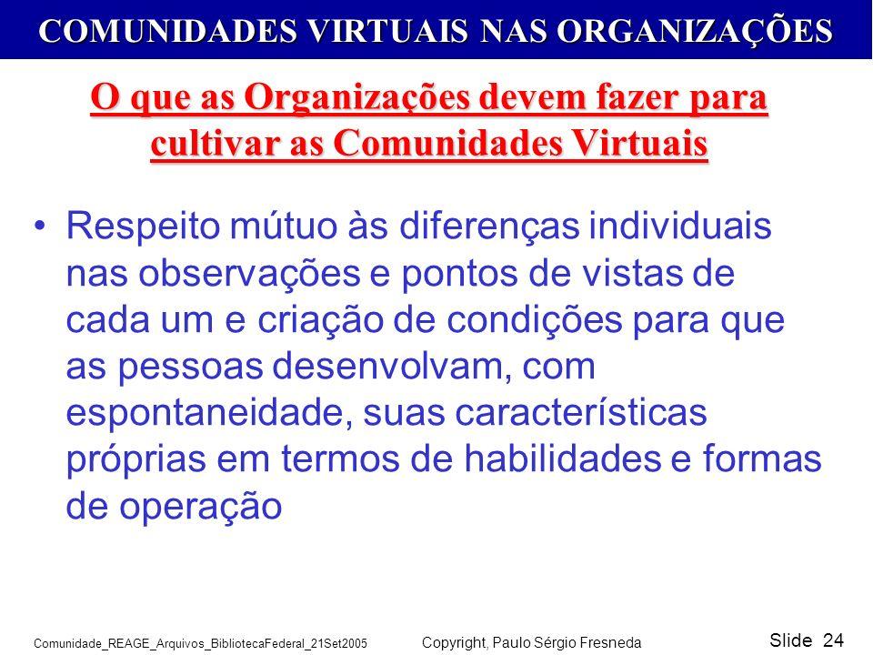 O que as Organizações devem fazer para cultivar as Comunidades Virtuais