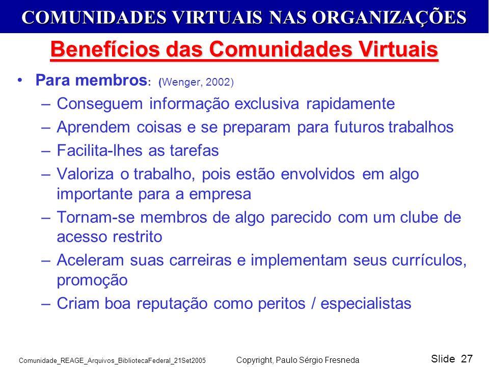 Benefícios das Comunidades Virtuais