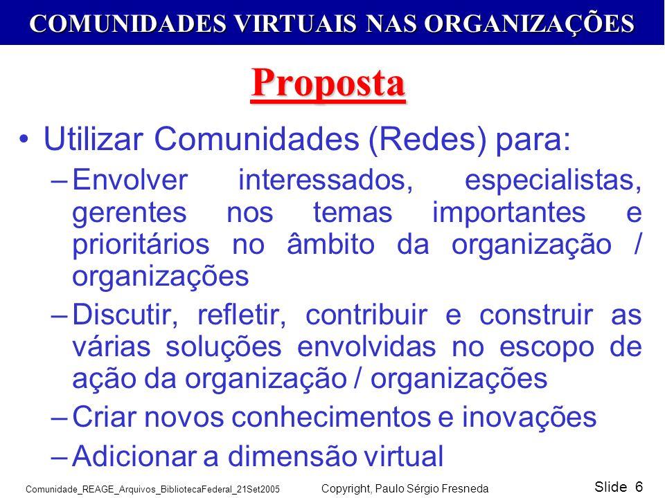 Proposta Utilizar Comunidades (Redes) para: