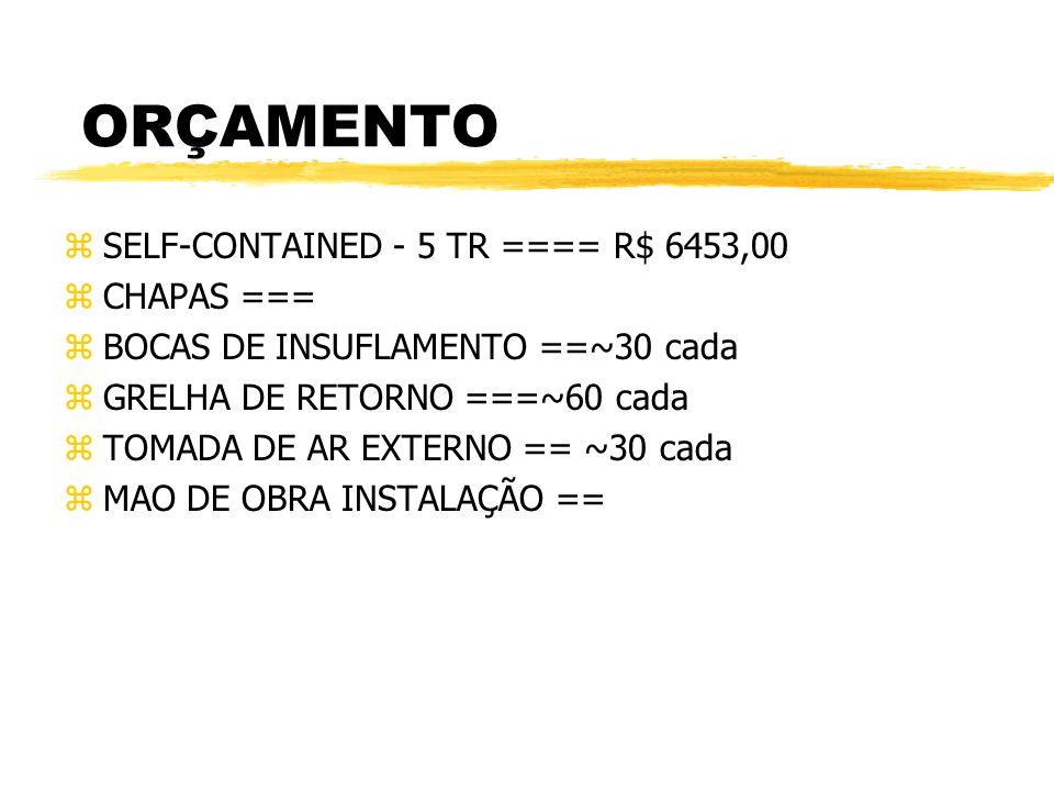 ORÇAMENTO SELF-CONTAINED - 5 TR ==== R$ 6453,00 CHAPAS ===
