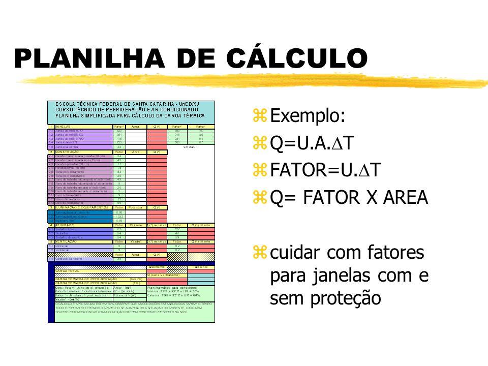 PLANILHA DE CÁLCULO Exemplo: Q=U.A.T FATOR=U.T Q= FATOR X AREA