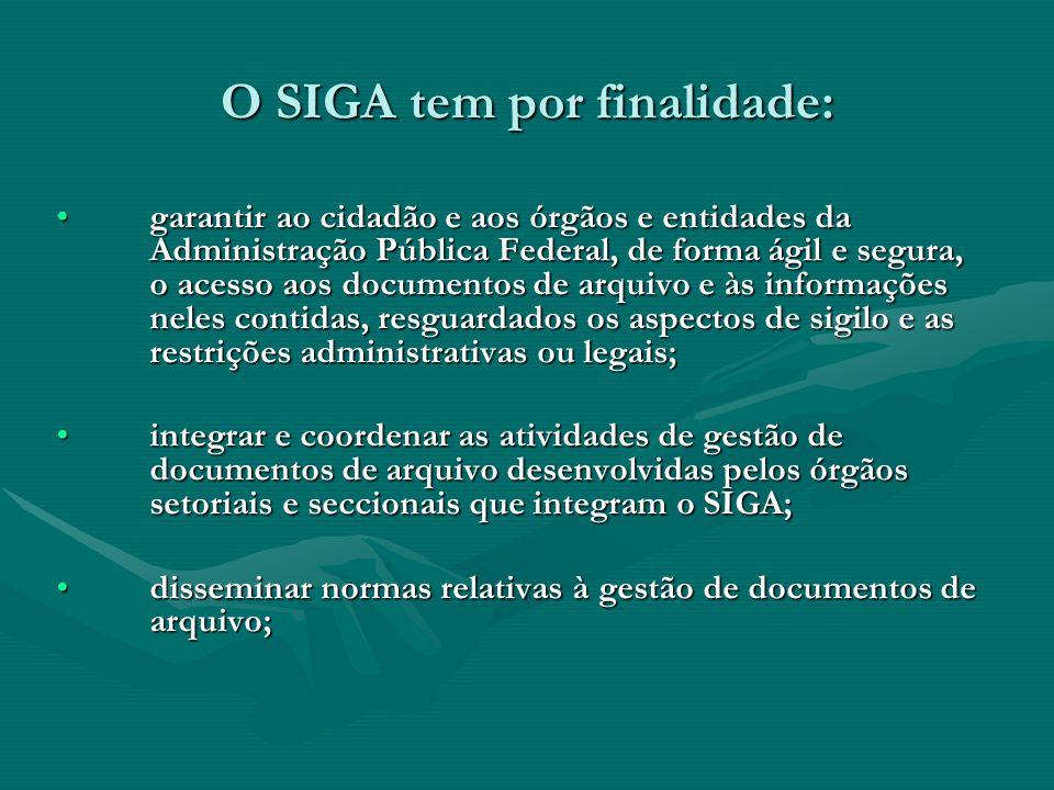 O SIGA tem por finalidade:
