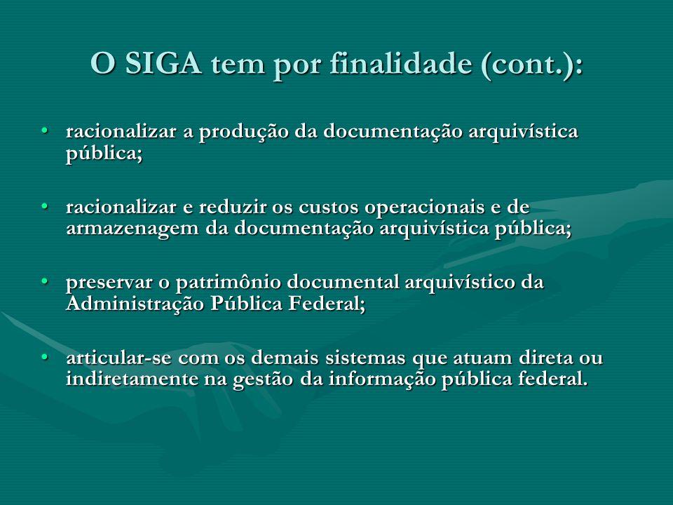 O SIGA tem por finalidade (cont.):