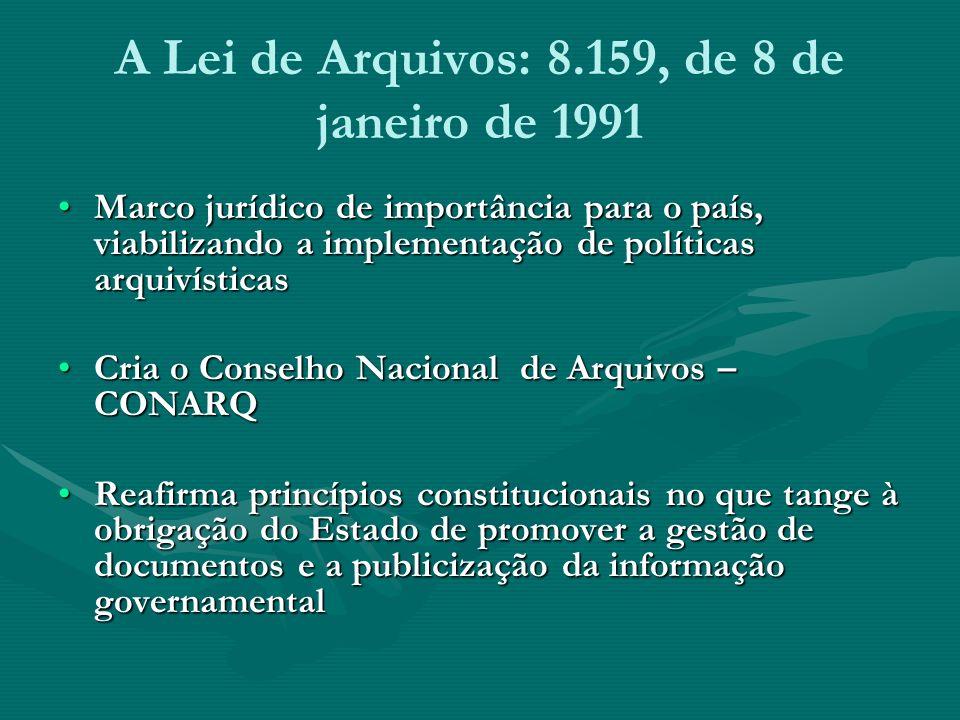 A Lei de Arquivos: 8.159, de 8 de janeiro de 1991