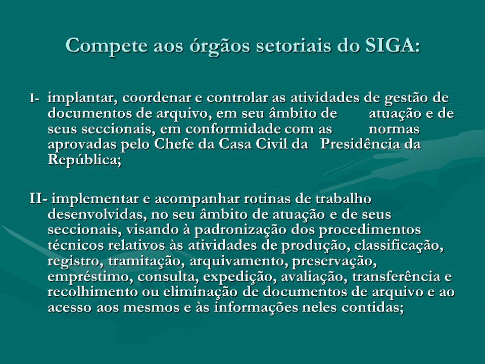 Compete aos órgãos setoriais do SIGA: