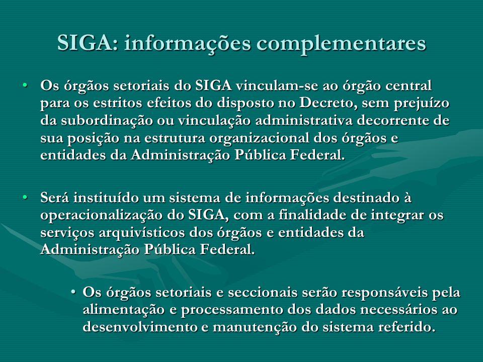 SIGA: informações complementares