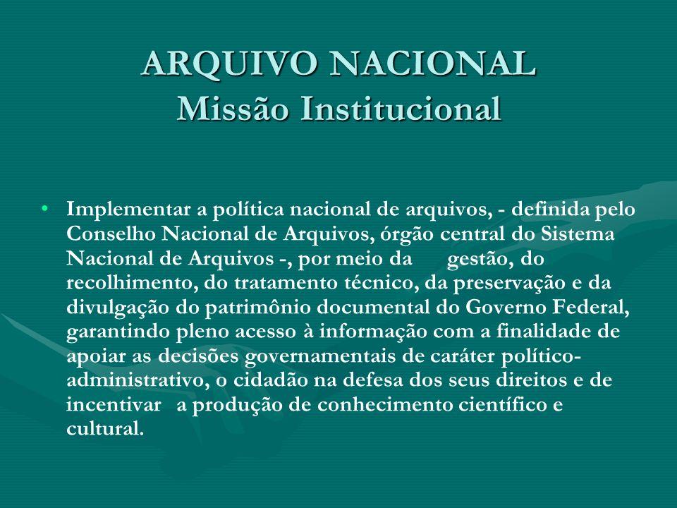 ARQUIVO NACIONAL Missão Institucional