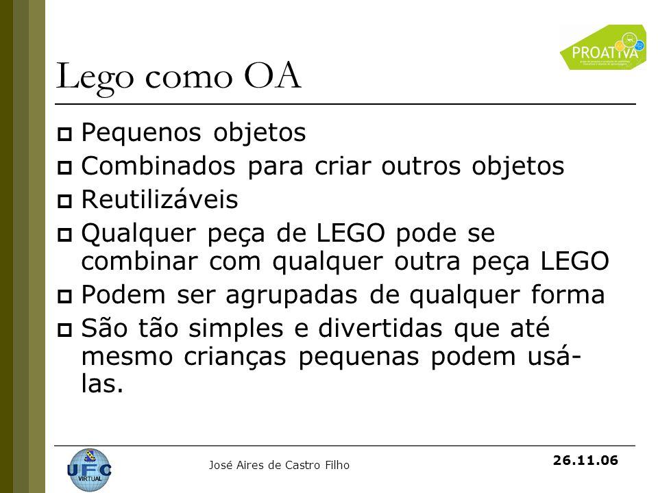 Lego como OA Pequenos objetos Combinados para criar outros objetos