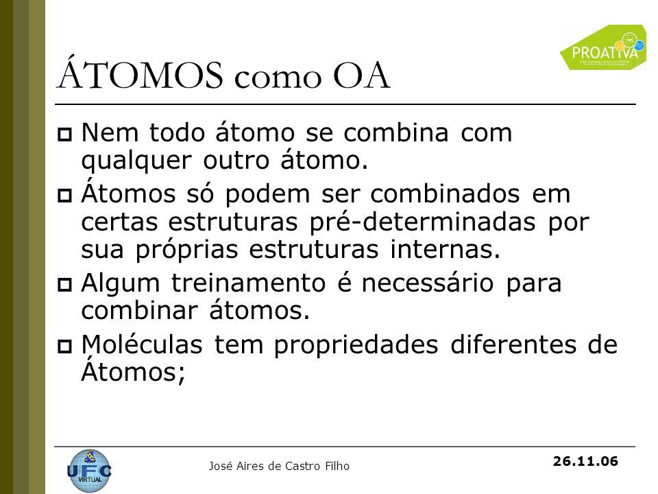 ÁTOMOS como OA Nem todo átomo se combina com qualquer outro átomo.