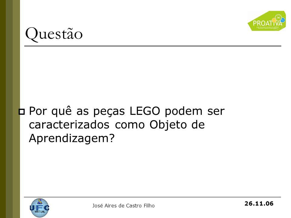 Questão Por quê as peças LEGO podem ser caracterizados como Objeto de Aprendizagem
