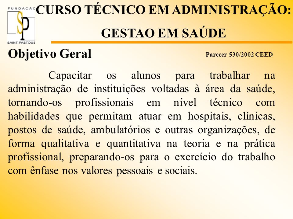 CURSO TÉCNICO EM ADMINISTRAÇÃO: