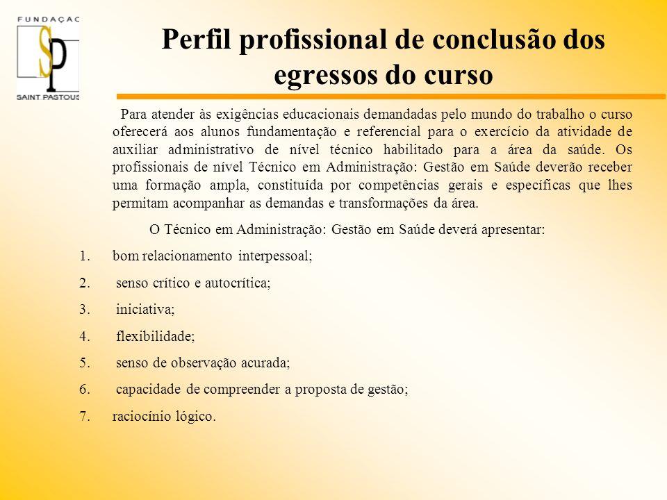Perfil profissional de conclusão dos egressos do curso