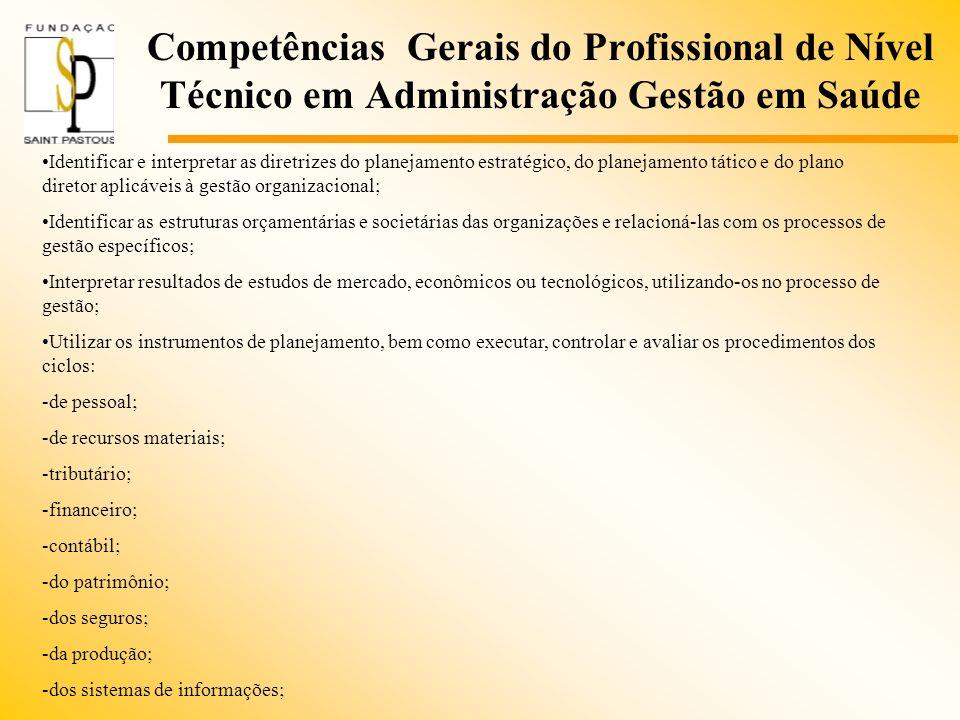 Competências Gerais do Profissional de Nível Técnico em Administração Gestão em Saúde