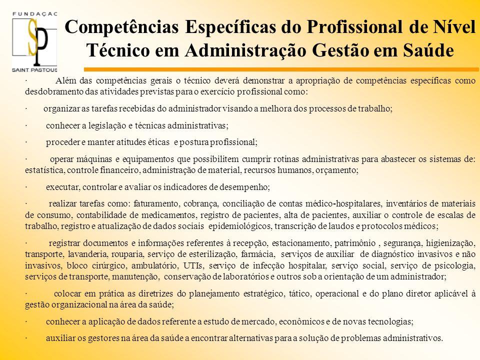 Competências Específicas do Profissional de Nível Técnico em Administração Gestão em Saúde