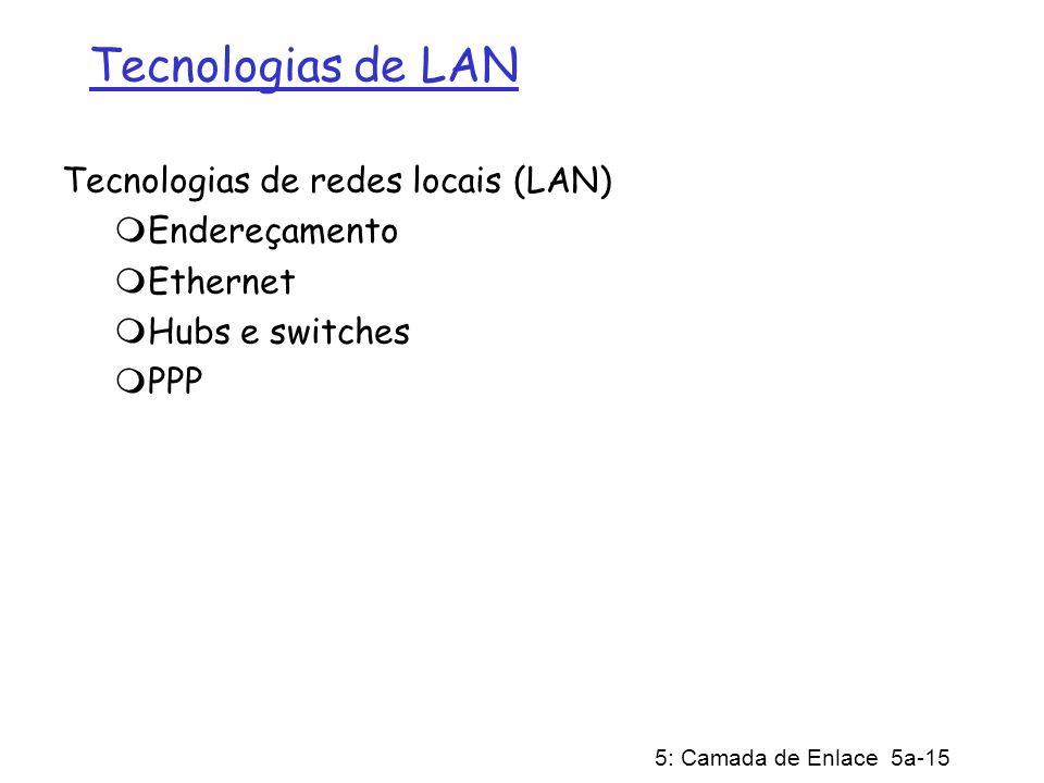 Tecnologias de LAN Tecnologias de redes locais (LAN) Endereçamento