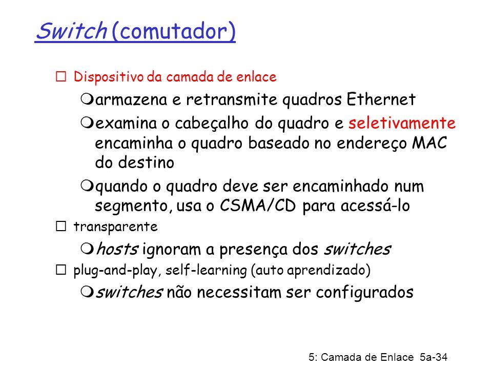 Switch (comutador) armazena e retransmite quadros Ethernet