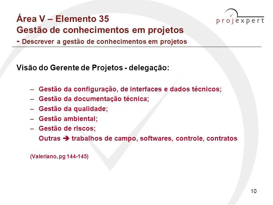 Área V – Elemento 35 Gestão de conhecimentos em projetos - Descrever a gestão de conhecimentos em projetos