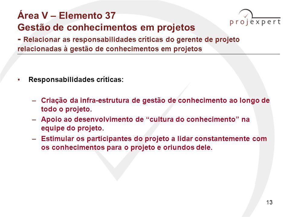 Área V – Elemento 37 Gestão de conhecimentos em projetos - Relacionar as responsabilidades críticas do gerente de projeto relacionadas à gestão de conhecimentos em projetos