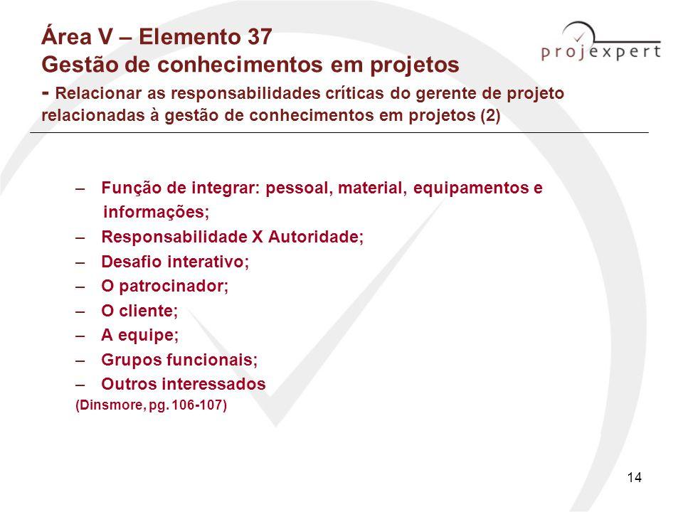Área V – Elemento 37 Gestão de conhecimentos em projetos - Relacionar as responsabilidades críticas do gerente de projeto relacionadas à gestão de conhecimentos em projetos (2)