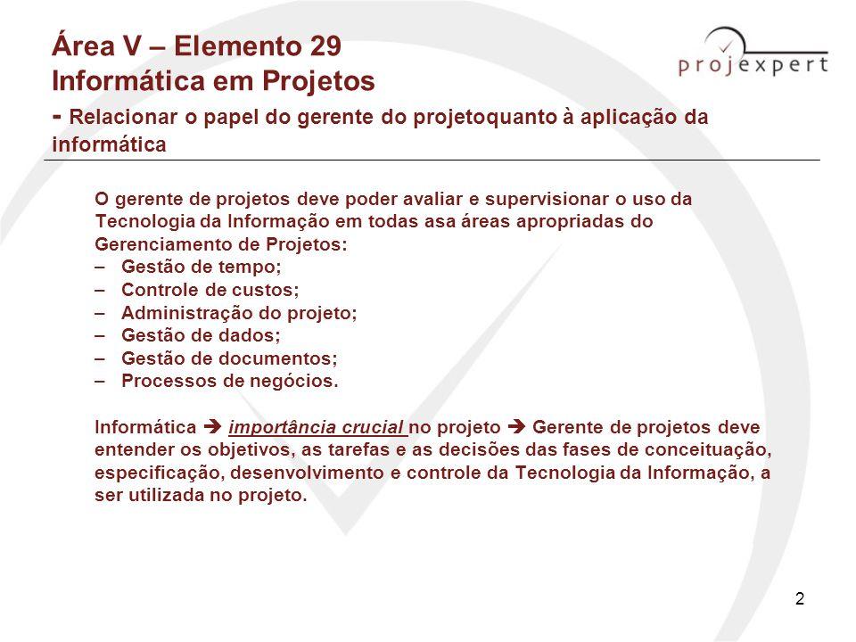 Área V – Elemento 29 Informática em Projetos - Relacionar o papel do gerente do projetoquanto à aplicação da informática