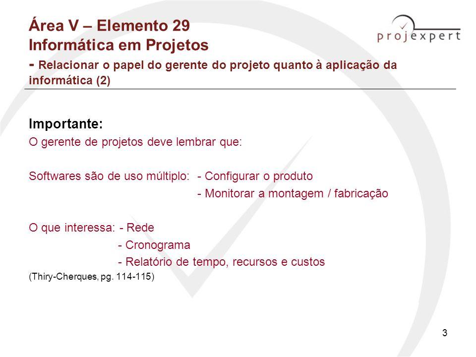 Área V – Elemento 29 Informática em Projetos - Relacionar o papel do gerente do projeto quanto à aplicação da informática (2)