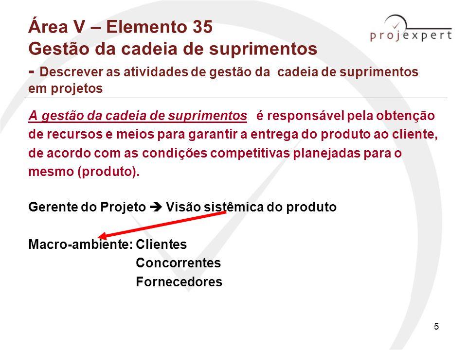 Área V – Elemento 35 Gestão da cadeia de suprimentos - Descrever as atividades de gestão da cadeia de suprimentos em projetos
