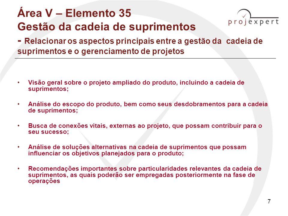 Área V – Elemento 35 Gestão da cadeia de suprimentos - Relacionar os aspectos principais entre a gestão da cadeia de suprimentos e o gerenciamento de projetos