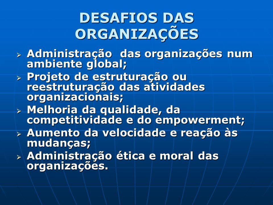 DESAFIOS DAS ORGANIZAÇÕES