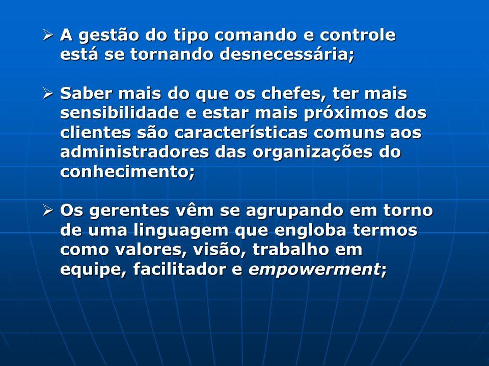 A gestão do tipo comando e controle está se tornando desnecessária;