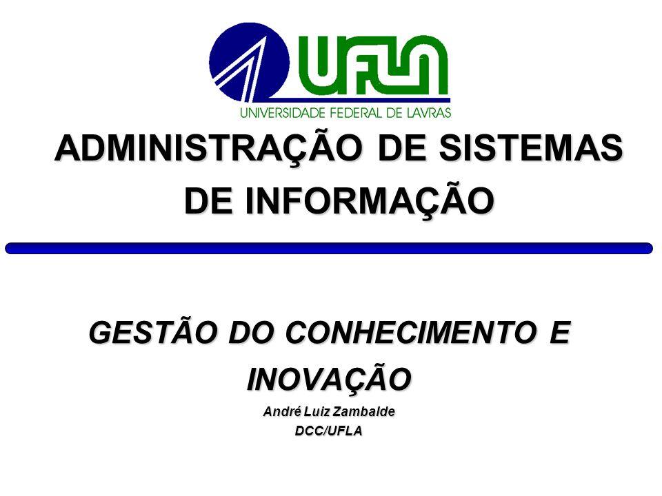 GESTÃO DO CONHECIMENTO E INOVAÇÃO André Luiz Zambalde DCC/UFLA