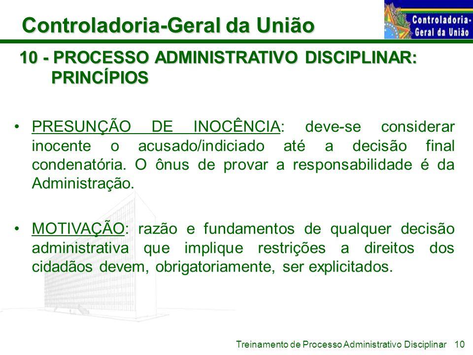 10 - PROCESSO ADMINISTRATIVO DISCIPLINAR: PRINCÍPIOS