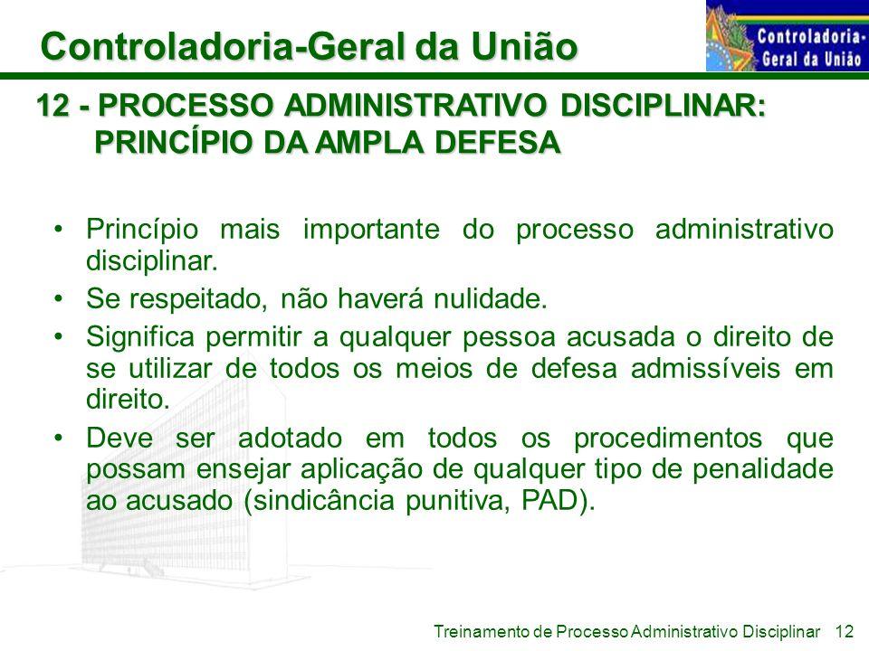 12 - PROCESSO ADMINISTRATIVO DISCIPLINAR: PRINCÍPIO DA AMPLA DEFESA