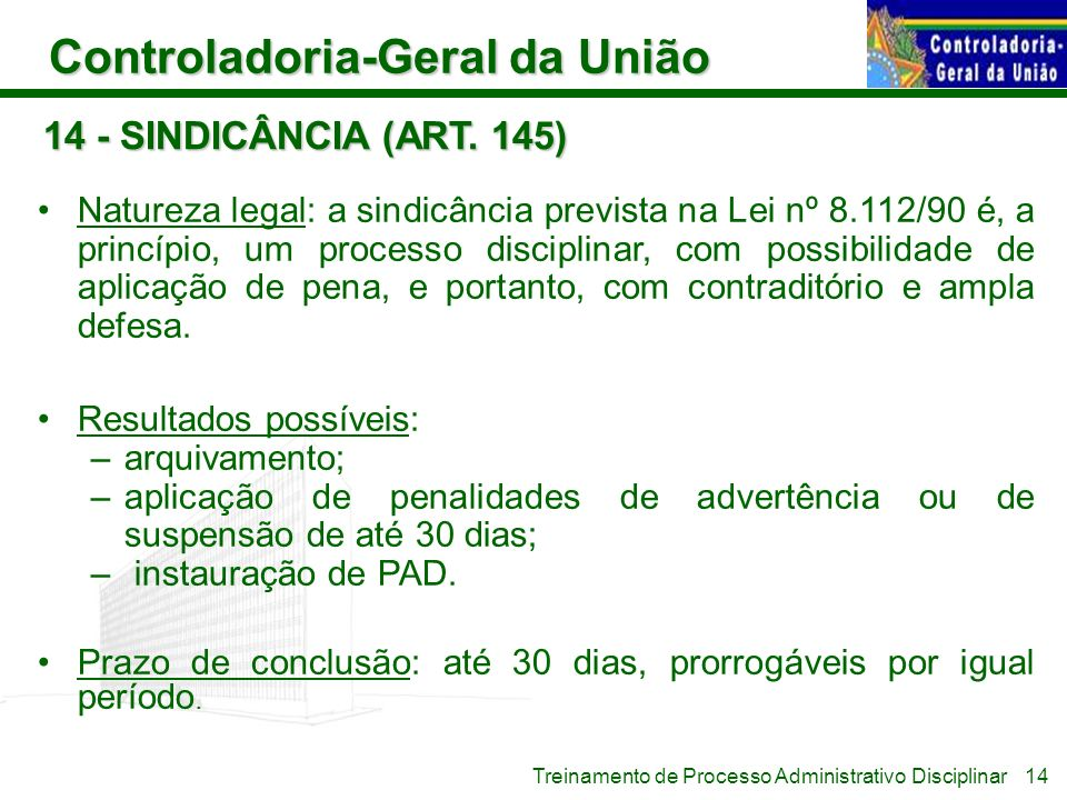 14 - SINDICÂNCIA (ART. 145)