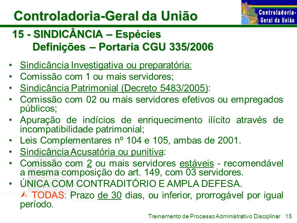 15 - SINDICÂNCIA – Espécies Definições – Portaria CGU 335/2006