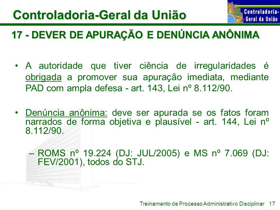 17 - DEVER DE APURAÇÃO E DENÚNCIA ANÔNIMA