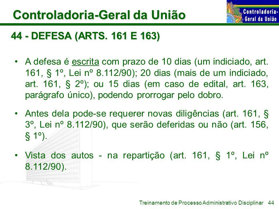 44 - DEFESA (ARTS. 161 E 163)