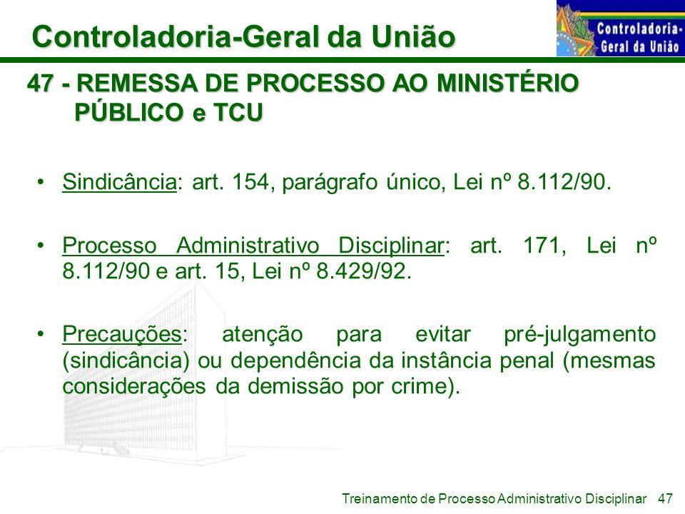 47 - REMESSA DE PROCESSO AO MINISTÉRIO PÚBLICO e TCU