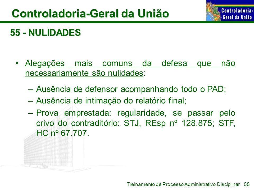 55 - NULIDADES Alegações mais comuns da defesa que não necessariamente são nulidades: Ausência de defensor acompanhando todo o PAD;