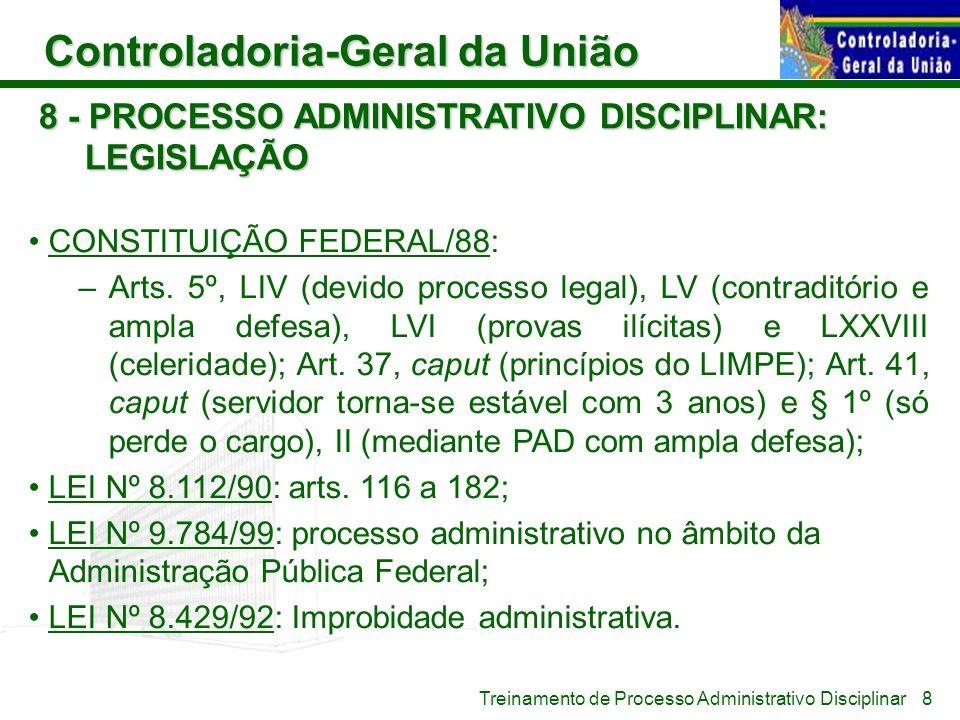 8 - PROCESSO ADMINISTRATIVO DISCIPLINAR: LEGISLAÇÃO