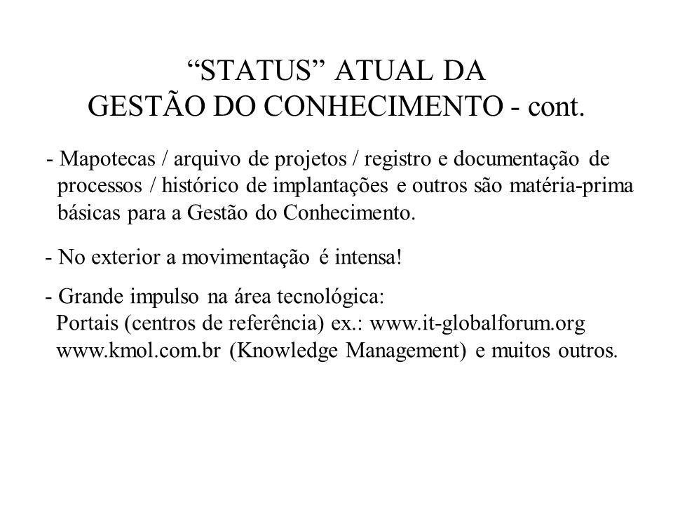 STATUS ATUAL DA GESTÃO DO CONHECIMENTO - cont.