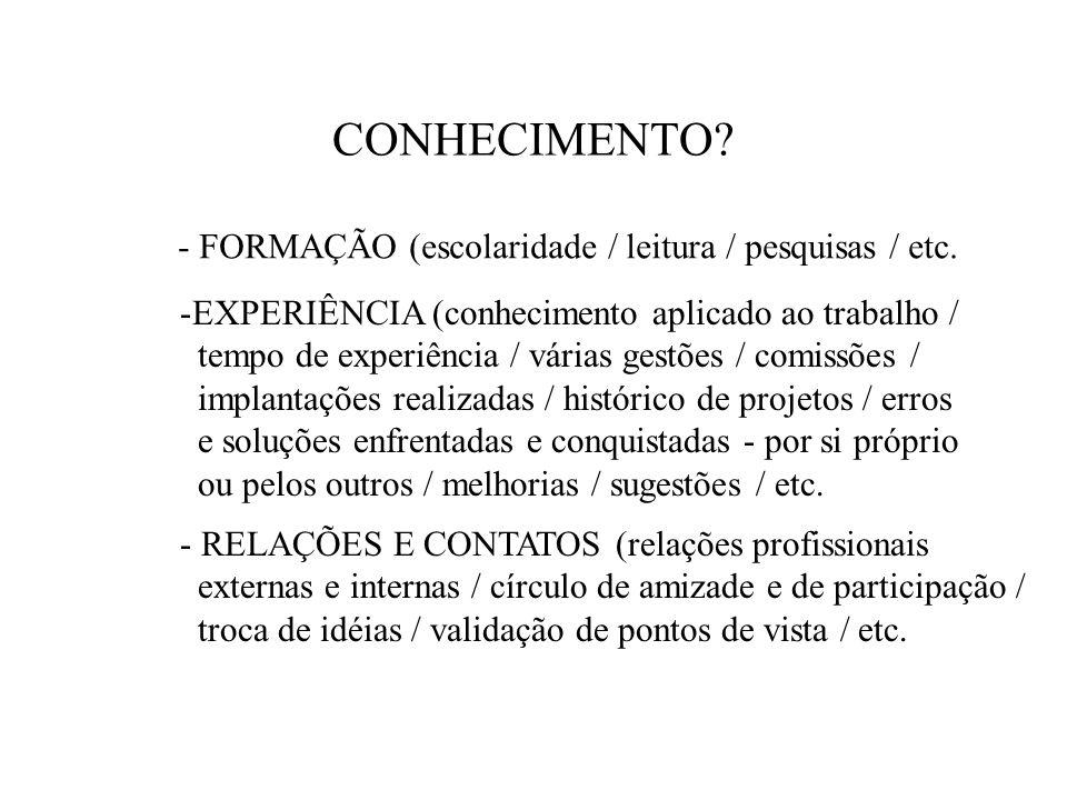 CONHECIMENTO - FORMAÇÃO (escolaridade / leitura / pesquisas / etc.