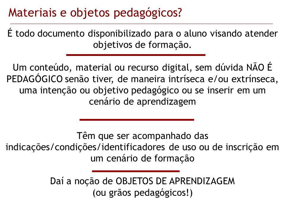 Materiais e objetos pedagógicos