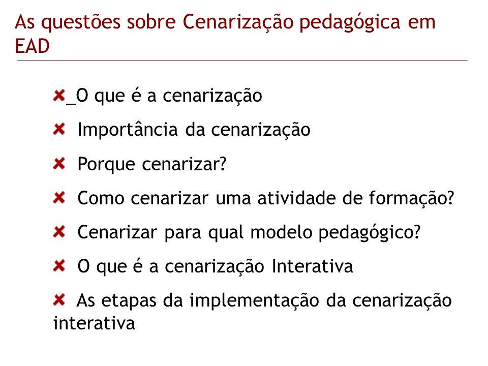 As questões sobre Cenarização pedagógica em EAD