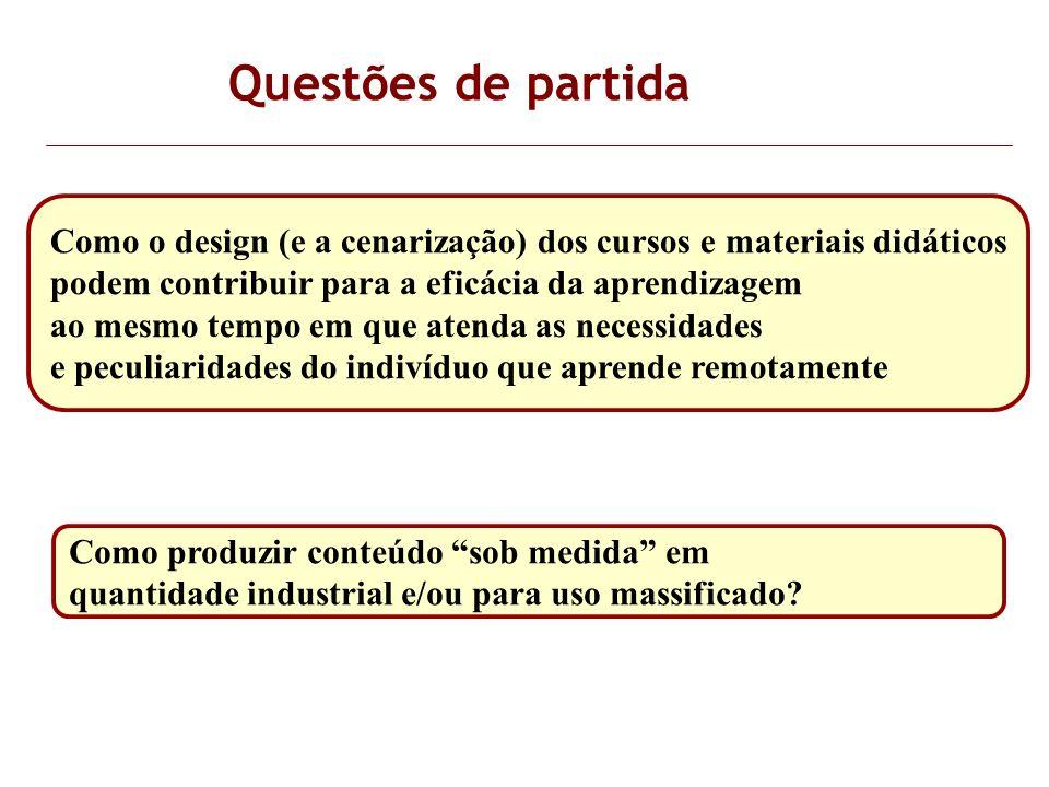 Questões de partida Como o design (e a cenarização) dos cursos e materiais didáticos. podem contribuir para a eficácia da aprendizagem.