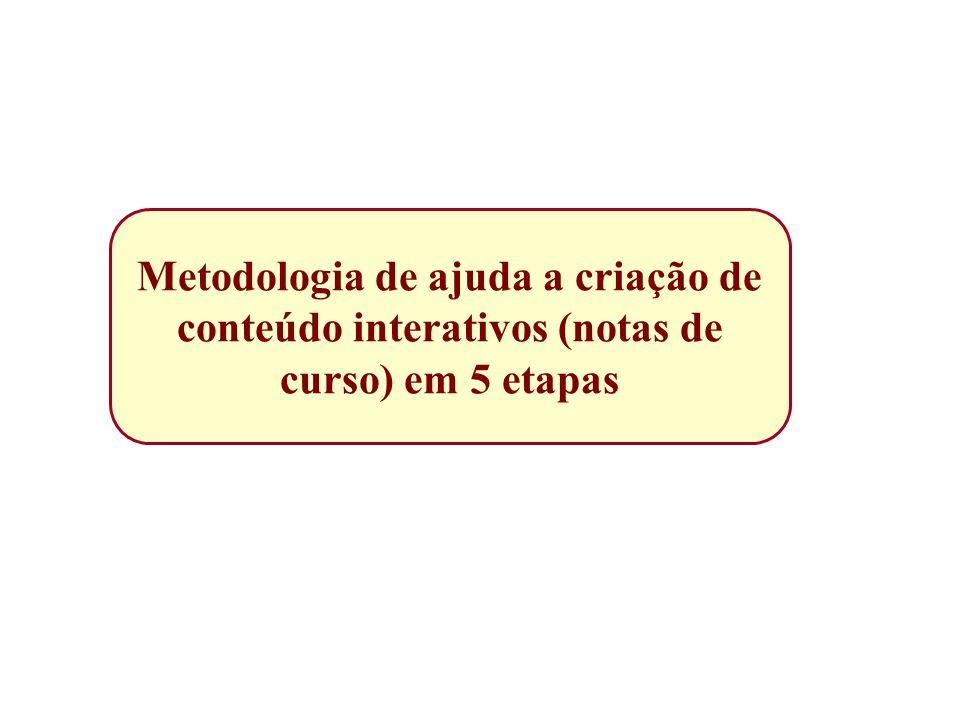 Metodologia de ajuda a criação de conteúdo interativos (notas de curso) em 5 etapas