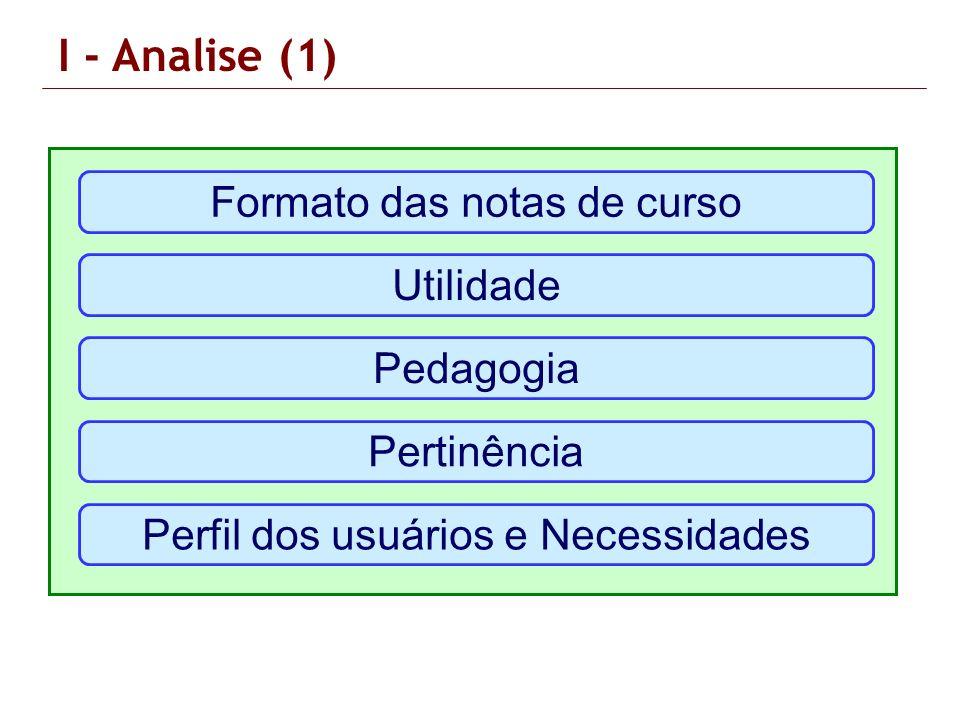 I - Analise (1) Formato das notas de curso Utilidade Pedagogia