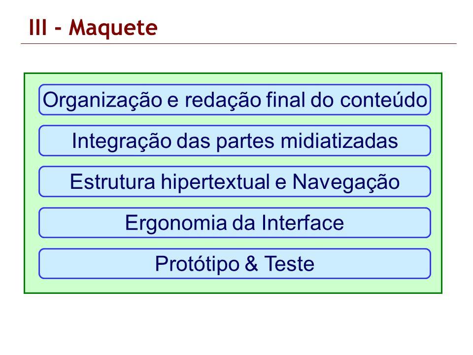 III - Maquete Organização e redação final do conteúdo