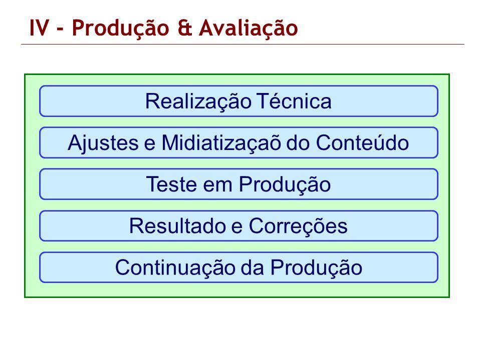 IV - Produção & Avaliação