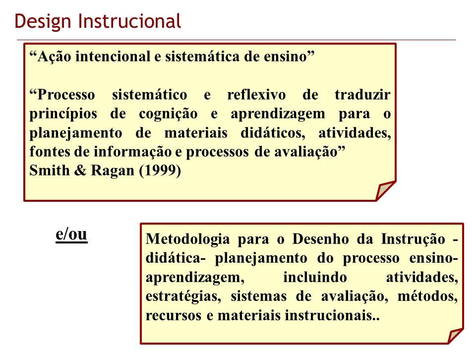 Design Instrucional e/ou Ação intencional e sistemática de ensino