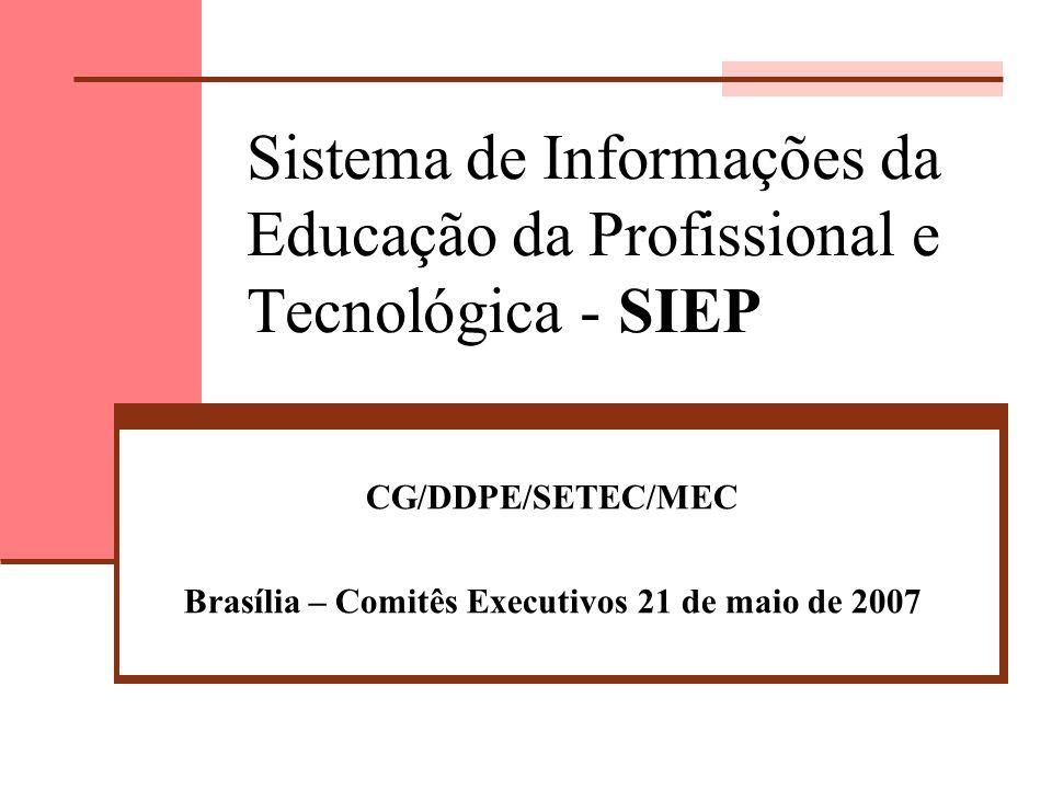 CG/DDPE/SETEC/MEC Brasília – Comitês Executivos 21 de maio de 2007